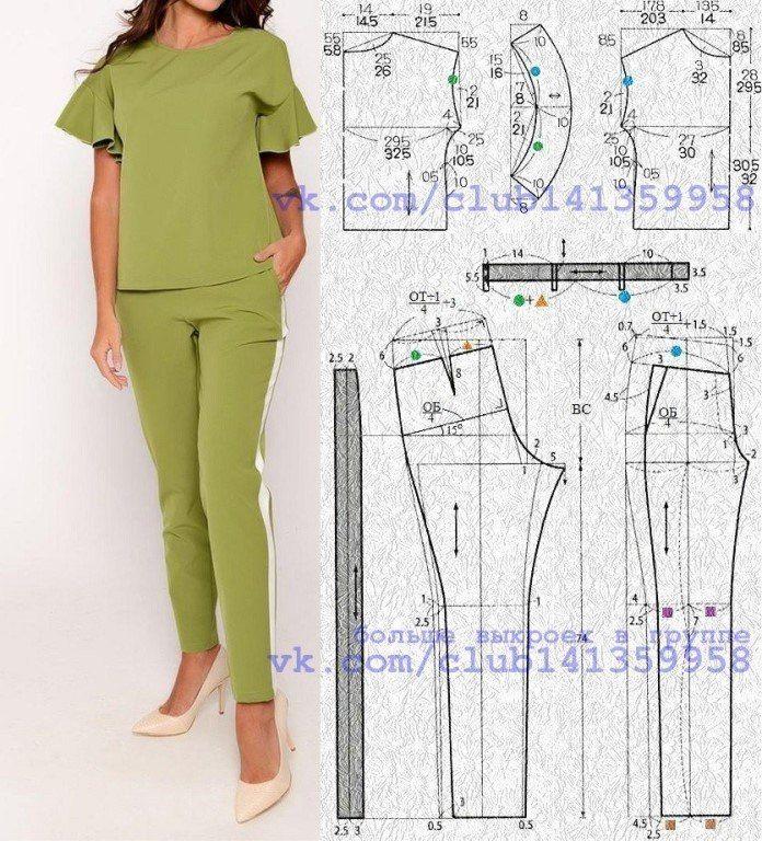 Брючный костюм - блузка с короткими цельнокроеными рукавами с воланами и узкие брюки с лампасами.<br>Выкройка на размеры 40/42 и 46/48 (рос.).<br>#костюм