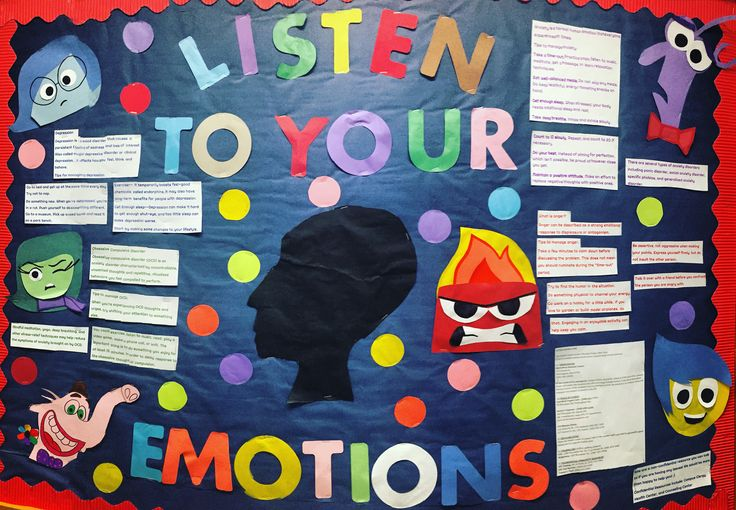 Inside Out Ed Board about mental health and understanding emotions  #RA #ResLife…