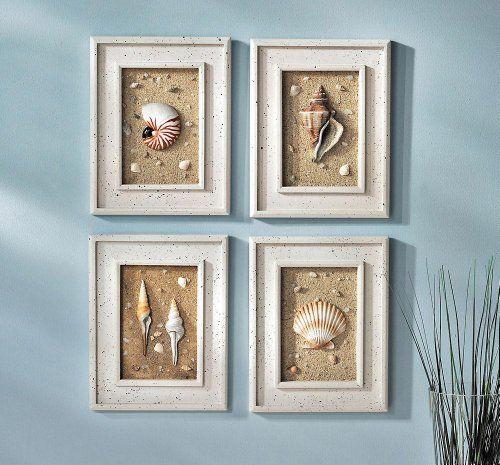 4pc Framed Seashells Coastal Beach Wall Art Seaside Lighthouse Nautical Decor