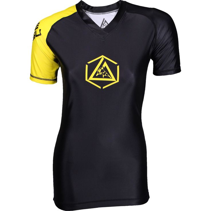 The Hex Womens Rashguard features the awesome new Gracie Jiu-Jitsu logo! The rashguard comes in a semi-two tone black/yellow color design and is a modern design for a classic look. Four panel body No side panels! Slightly more fitted 85% Polyester/15% Spandex Perfect Wear it under your gi to prevent gi-burn or for no-gi training. Silicone liner on bottom hem to prevent rash guard from riding up while you train