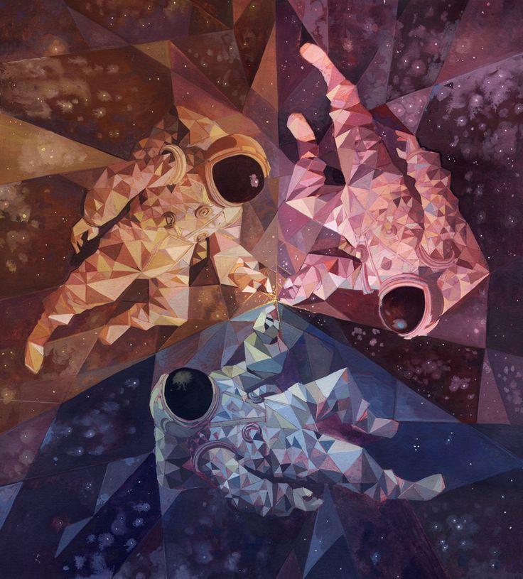 Triad of astronauts-- lovely Laura Bifano: laurabifano.com