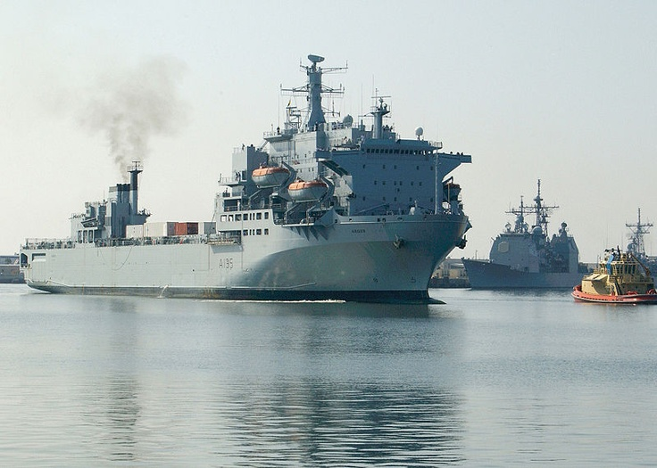 RFA ARGUS was built as a roll-on, roll-off container ship and converted for use in the Royal Navy in 1984. 12 Harrier jump jets can operate off of her deck. She served in the Falklands War and as a Primary Casualty Recovery Ship during the First Persian Gulf War.