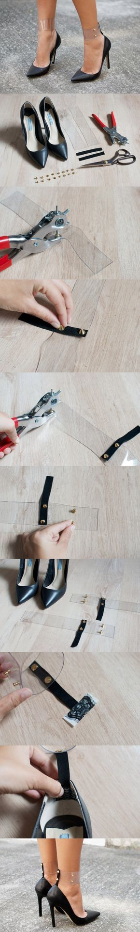 Amazingly Easy to Make DIY Fashion Projects - Transparent ankle straps!