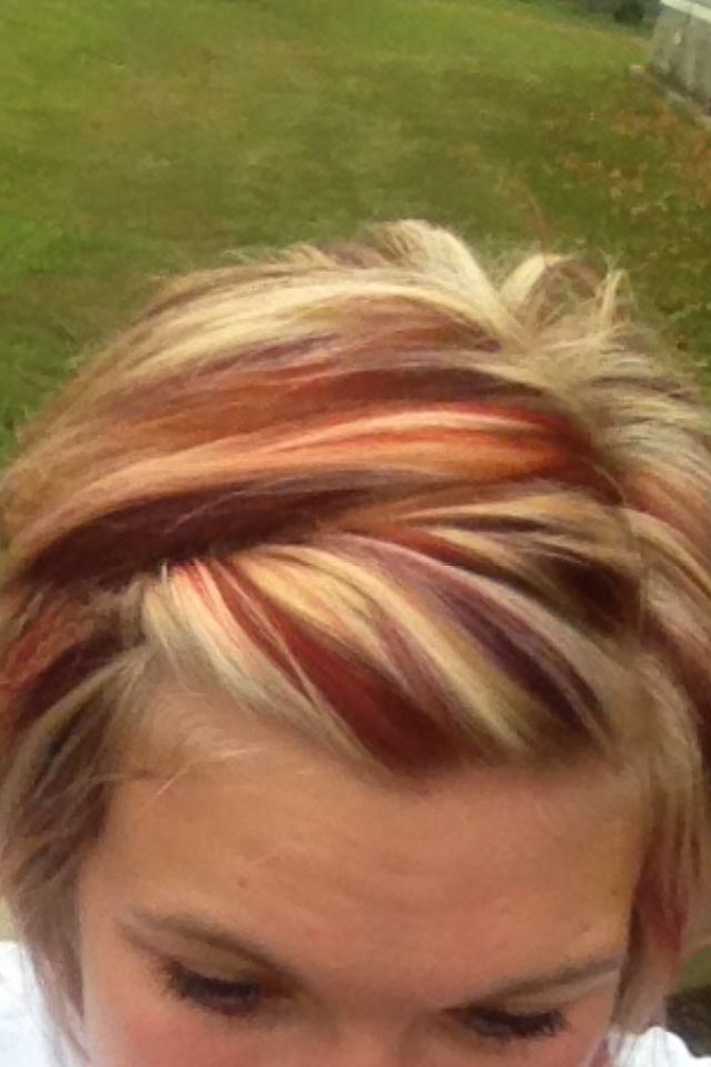 1325 best streaked hair images on pinterest dip dye hair chunky red and blonde highlights with a purple all over color pmusecretfo Choice Image