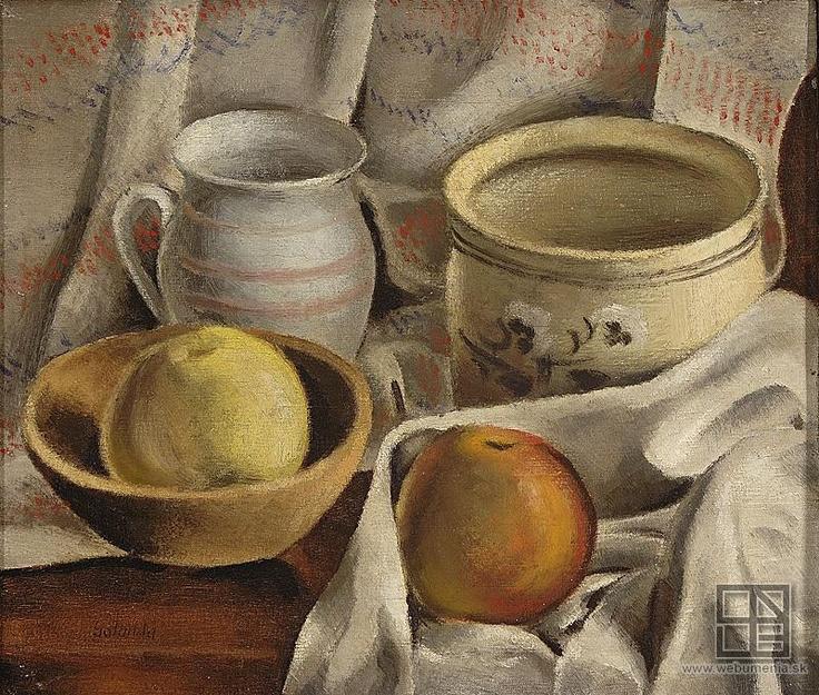 Mikuláš Galanda: Stil life with ceramic pots and apples / Zátišie s keramickými hrncami a jablkami (1925 - 1927)