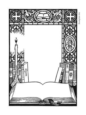 This bookplate, design T7, is one of two popular religious designs created by artist Owen Wise for the Antioch Bookplate Company in the late 1950s. Text is printed inside the open book. Upon request, we can also print extra lines in the space above the book.