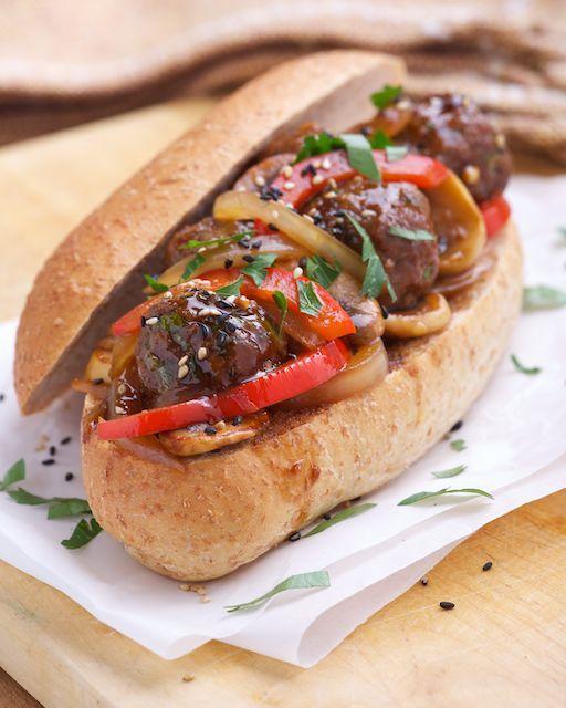 Hoisin Meatball Submarine Sandwich