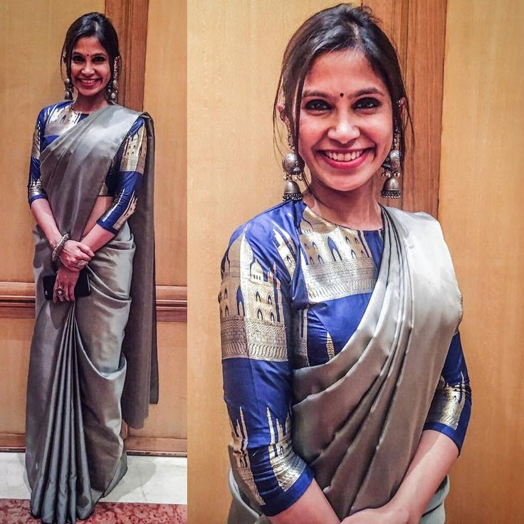 "2,792 Likes, 43 Comments - Ayush Kejriwal (@designerayushkejriwal) on Instagram: ""My sister wearing a steel metallic grey silk saree with the royal blue Taj brocade blouse along…"""