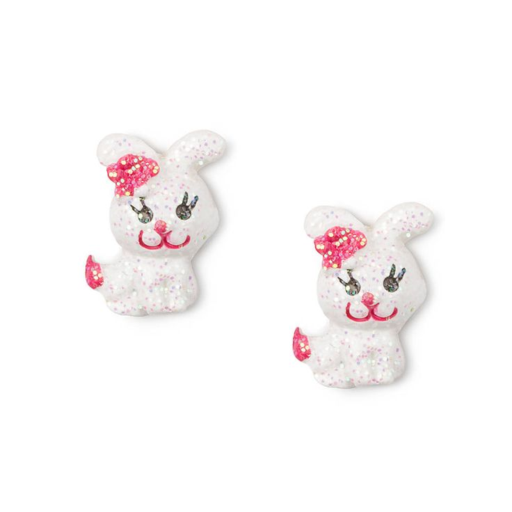 White Glitter Bunny Stud Earrings | Claire's