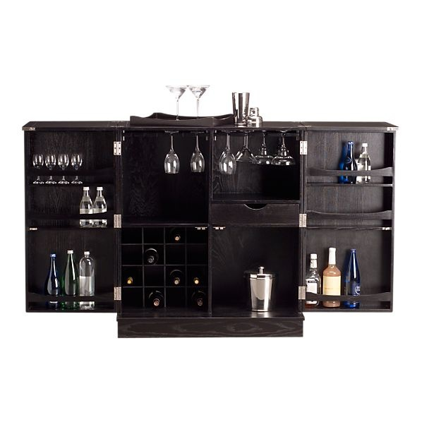 from crate u0026 barrel inspired by a vintage steamer trunk the updated steamer bar cabinet opens to reveal a capacious home bar