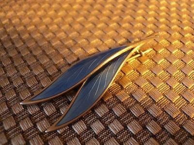 NORWAY STERLING 925 SILVER PEARLESQUE BLUE ENAMEL LEAF BROOCH | eBay