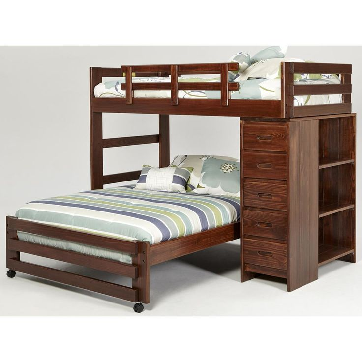 Chelsea home twin over full l shaped bunk bed with 5 drawer chest and