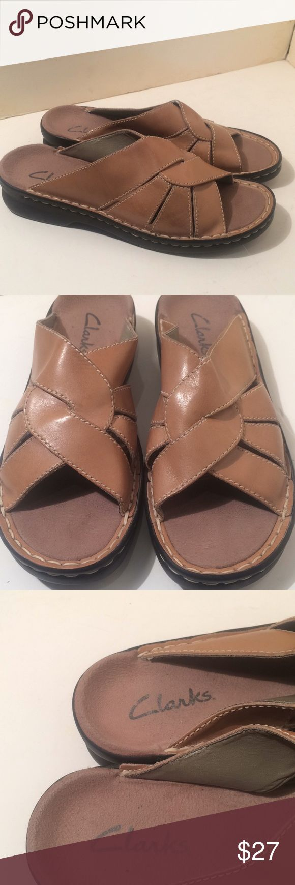 Clarks sandals shoes slip on worn once Clarks  Super cute for summer or your much needed get away!!! Size 8 m slip on tan in color worn once  I am a huge clarks / born shoes fanatic and am Doing a huge clean out most of my shoes have only been worn 1-2 times   Open to reasonable offers!! Clarks Shoes Sandals