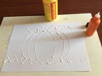 Dýně kreslená s lepidlem