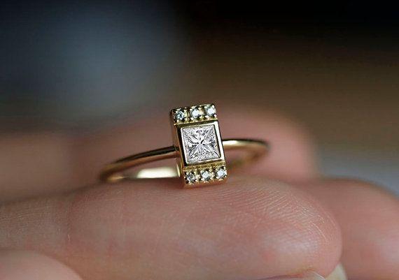 Bague diamant princesse Princess Cut Engagement Ring par MinimalVS