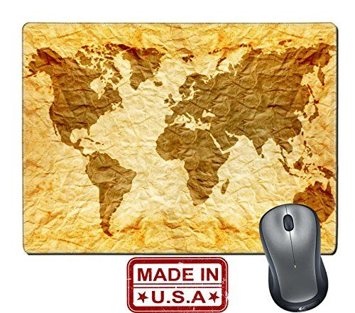 """Liili Natural Rubber Mouse Pad/Mat with Stitched Edges 9.8"""" x 7.9"""" worldmap on old wrinkle paper Photo 21868361 #Liili #Natural #Rubber #Mouse #Pad/Mat #with #Stitched #Edges #."""" #worldmap #wrinkle #paper #Photo"""