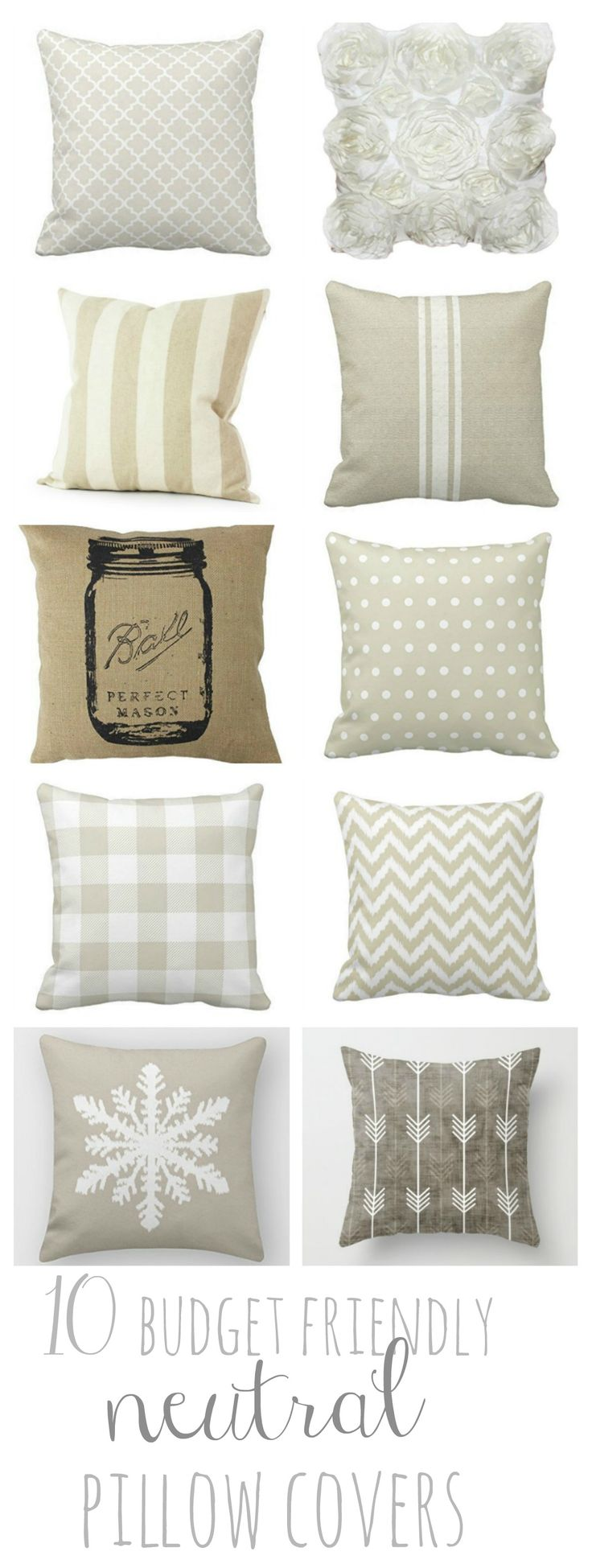 10 Budget Friendly Neutral Pillow Covers to help you transition seasons in your home! All of these are under $10! Winner Winner!