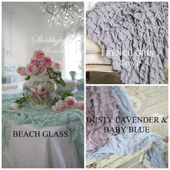 Soft Ruffled Throw, Blanket, Photography Prop. Beach Glass....White...Cream...Pink...Grey.... $45