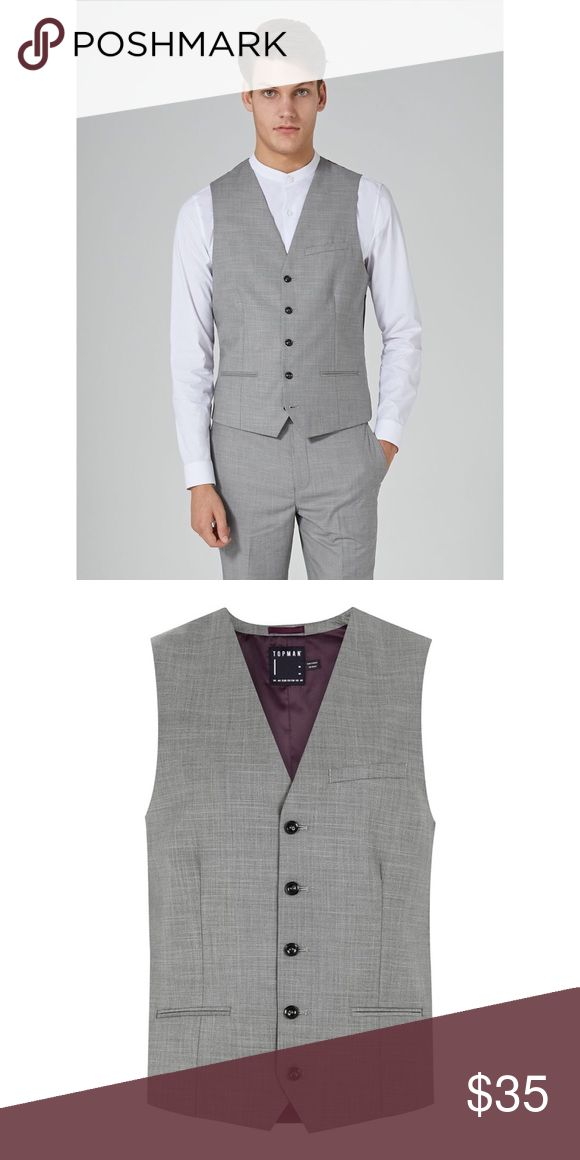 NWT TOPMAN GREY MARL SUIT VEST NWT TOPMAN GREY MARL SUIT VEST.  Classic fit Light grey marl fabric for a mottled appearance Single breasted Five buttons 82% Polyester, 18% Viscose Topman Suits & Blazers Vests