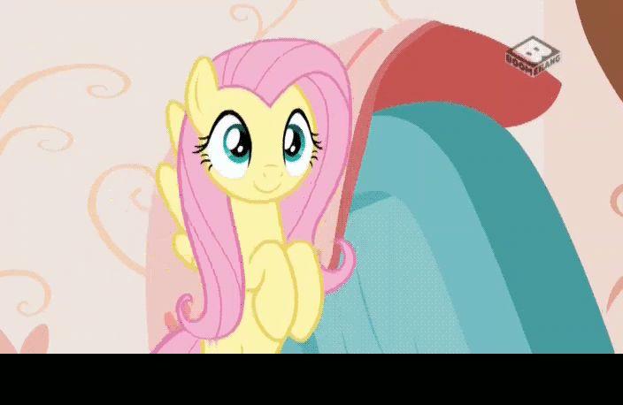 #1466494 - animated, blanket, boomerang (tv channel), caption, chair, cute, discordant harmony, discord's home, dresser, fluttershy, flying, grandfather clock, levitation, magic, safe, screencap, shyabetes, solo, spoiler:s07e12, telekinesis - Derpibooru - My Little Pony: Friendship is Magic Imageboard