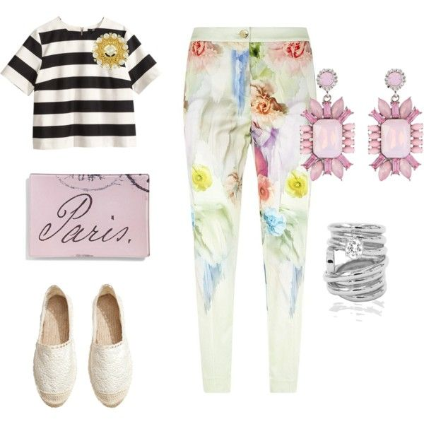 """GITA IN BARCA"" by workingincloset on Polyvore #FASHION #WORKINGINCLOSET #ONBLOG #FASHIONBLOGGER #OUTFIT #LOOKOFTHEDAY #TREND #WHITE #FLORALPANTS #EARRING #SILVERRING"