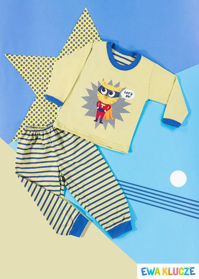EWA KLUCZE, oliwkowa piżamka z długim rękawem COMICS, ubranka dla dzieci, EWA KLUCZE, COMICS pijamas, baby clothes, Детская одежда