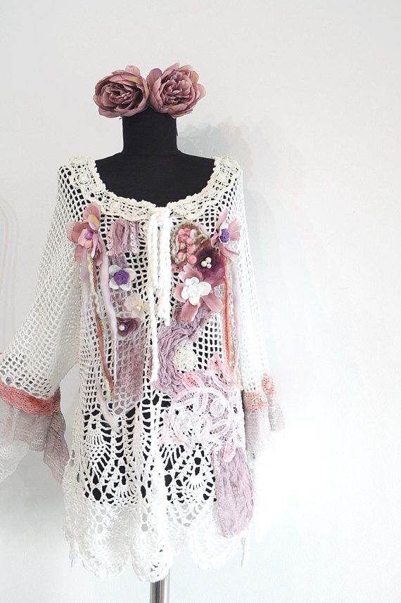 Hand crochet sweater, size XL, XXL, altered couture, shabby chic bohemian sweater, mori girl, gypsy art to wear pullover, romantic blouse