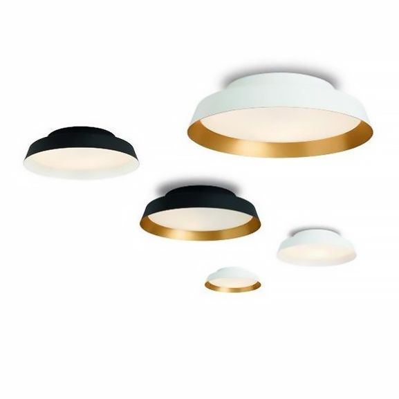 Ceiling or wall lamp. Produces a direct luminous effect thanks to itsopal white glass screen.