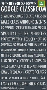 20 Things You Can Do with Google Classroom - while this is a Google Tool, it works really well with our Google iPad apps!!!
