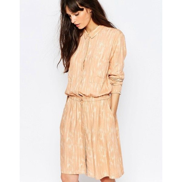 Just Female Lumina Print Shirt Dress in Peach (68 CAD) ❤ liked on Polyvore featuring dresses, pink, beige dress, loose dresses, shirt dress, t-shirt dresses and tall dresses