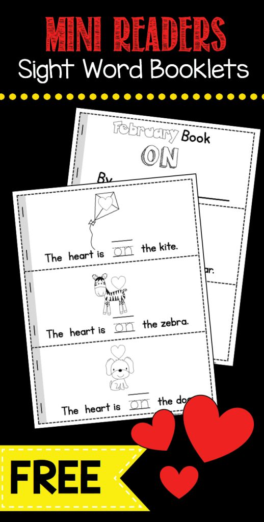 Easy and FREE sight word booklet for February - Valentine emergent reader literacy center or whole group activity