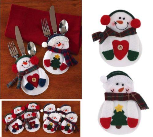 Snowman Christmas Xmas Silverware Tableware Dinner Party Decor Cutlery Holder