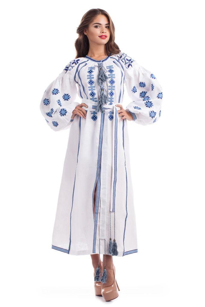 Белое Этническое платье Вышиванка Украинская вышивка Свадебное Бохо платье