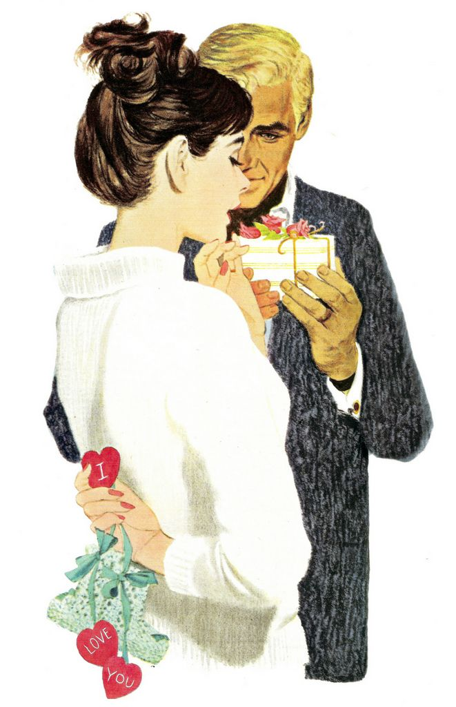 """From the size of the box, he has gotten her jewelry or perfume as a gift. Her gift doesn't come with bows, but it is definitely longer lasting. She has booties and hearts with the words """"I Love You"""" behind her back. They can begin think about names. This painting was on the cover of Ladies Home Journal in February 1960."""