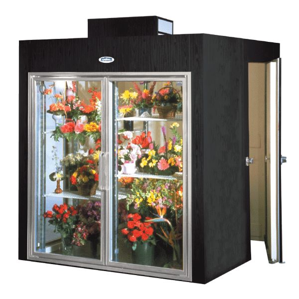 flower fridge in front and walk-in cooler at the back