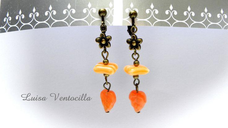 Ohrclips - Wunderschöne Ohrclips in Orange - ein Designerstück von Luisa-Ventocilla bei DaWanda