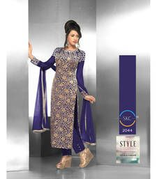 Buy Blue embroidered velvet semi stitched salwar with dupatta pakistani-salwar-kameez online