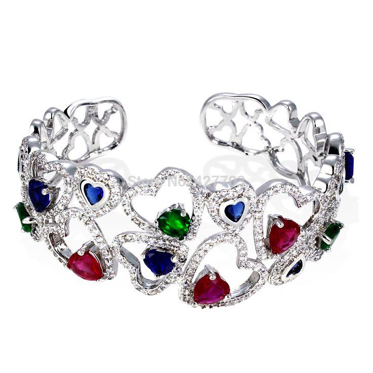 Многоцветный браслеты красочный зубцами настройки родием роскошные женщины в форме сердца мода украшения бесплатная пересылка