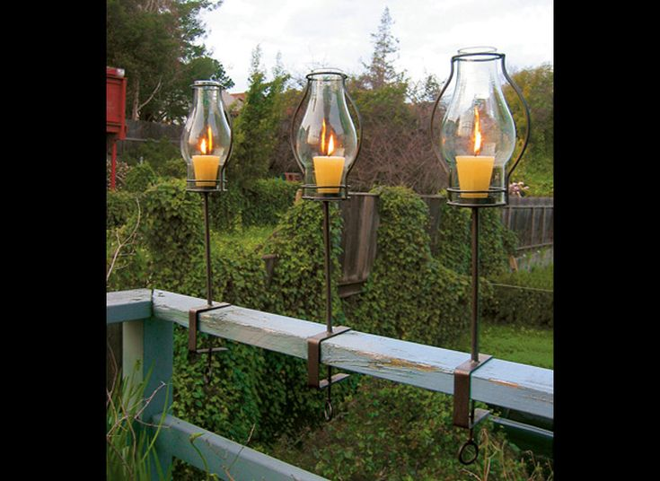 Glass Hurricane Railing Lanterns Posts Votive Candles