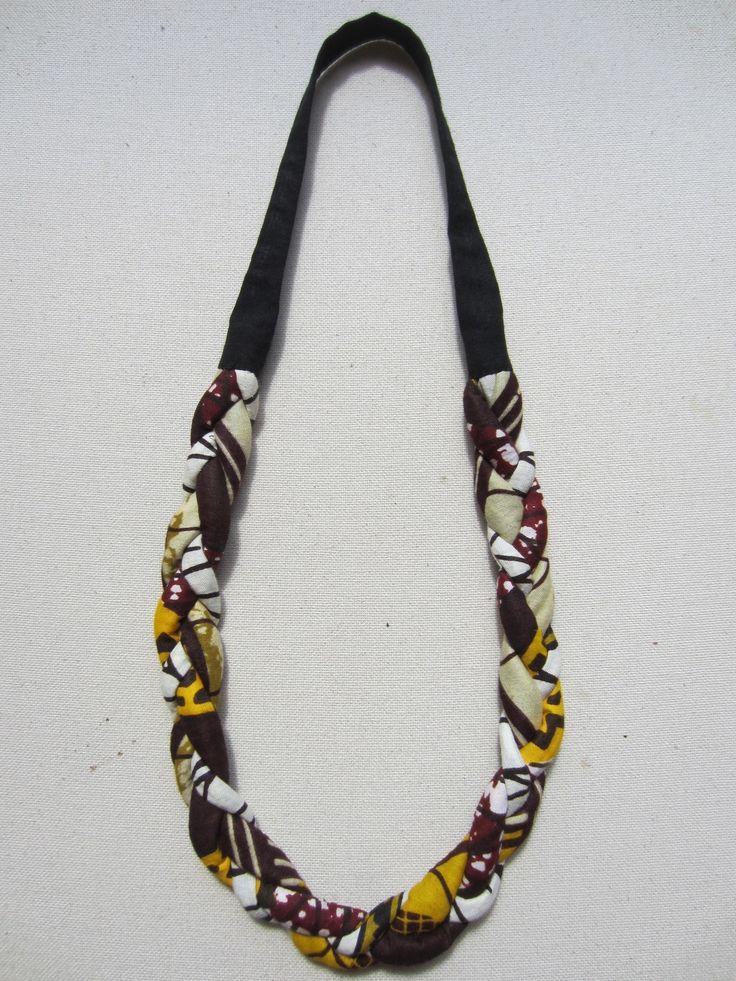Collier ethnique en wax tissu africain prune jaune et beige (envoi 0€)                                                                                                                                                                                 Plus