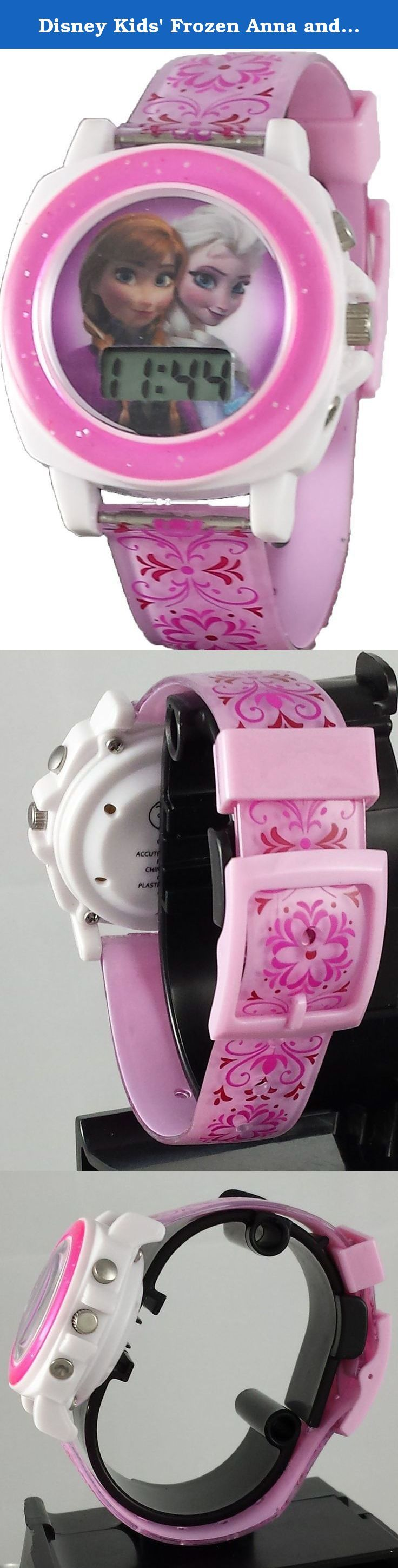 "Disney Kids' Frozen Anna and Elsa Musical ""Let It Go"" Digital Watch with Pink Band. This watch by pressing the button on the top right corner of the face of the watch will play the hit song ""let it go ""from the movie. It is very clear and loud to make all your little ones start dancing."