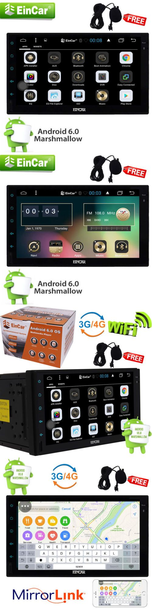 Vehicle Electronics And GPS: Android 6.0 7 Double 2Din Car Radio Stereo Dvd Player Gps Nav Obd Bt 3G Wifi -> BUY IT NOW ONLY: $179.9 on eBay!