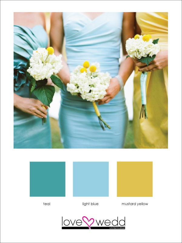 teal, light blue, yellow #color palette #wedding The warmer yellow could make it a little more winter?