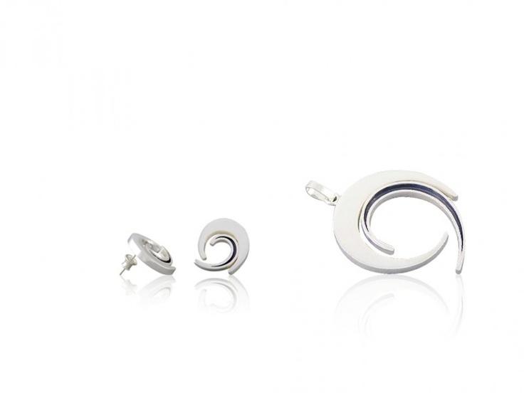 Silver jewellery set - pin earrings + pendant