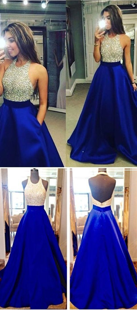 2017 New Arrival Sexy Royal Blue Prom Dress,Elegant Bodice Sequined Prom Dress for Girls,A Line Satin Evening Dress for Party,Backless Prom Dress for Woman