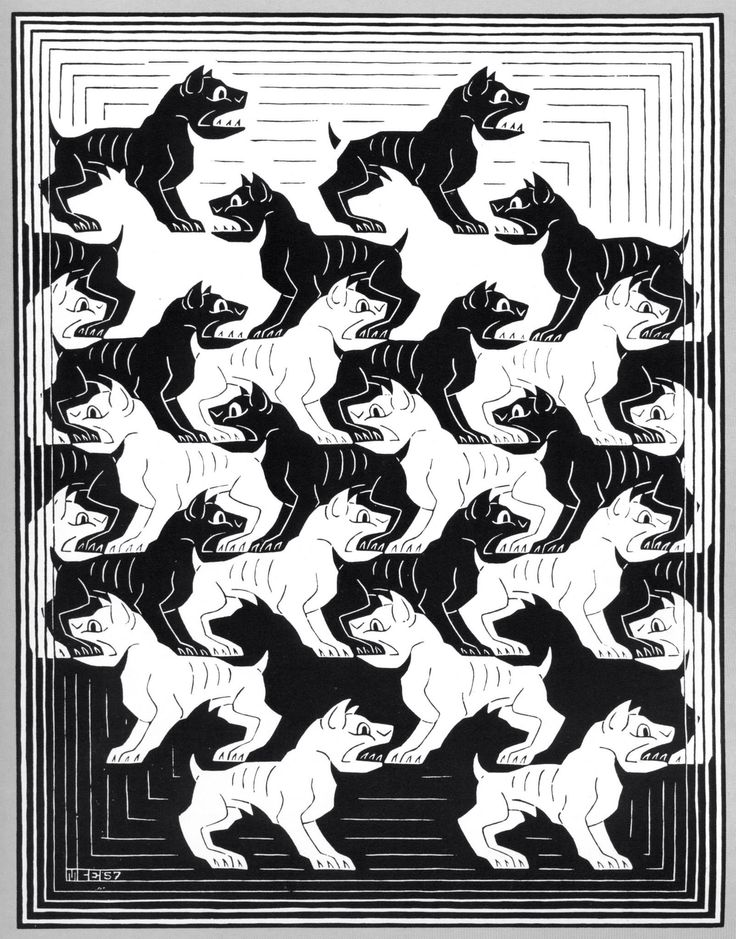 Regular division of the plane iv june 1957 woodcut m c for Mc escher gallery