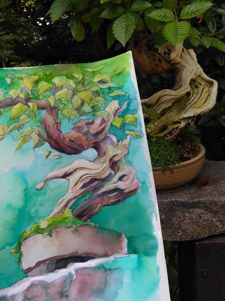 Bonsai Bonsai Trees Sketch Datdrawboi Divis Jan Painting