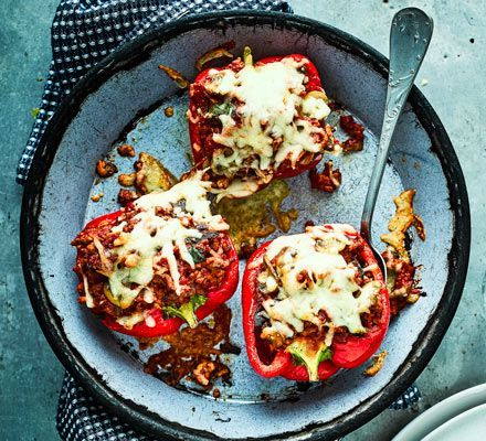 This low-calorie dinner from Joe Wicks is 3 of your 5-a-day, rich in vit C and folate too. Filling the peppers with low-fat turkey breast mince keeps it lean