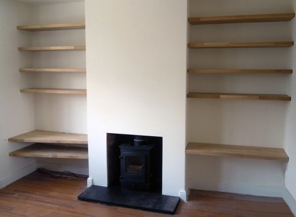Image result for woodburner fireplace with shelves