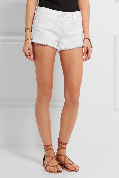 L'Agence - Zoe Frayed Stretch-denim Shorts - White - 30